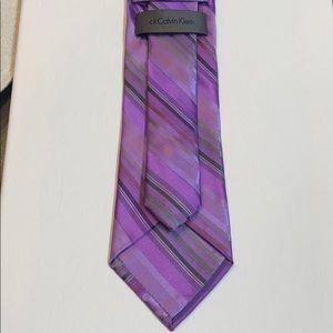 Purple Stripe Silk Neck Tie by Calvin Klein